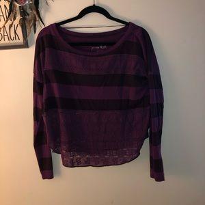 Barely worn long sleeve purple crop top size XS